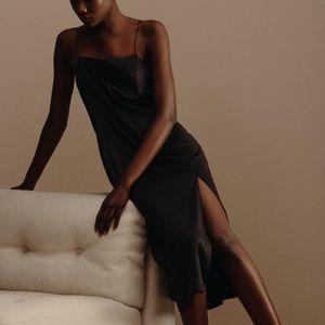 Slit satin dress